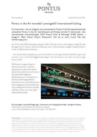 Pontus in the Air lovordad i prestigefull internationell tävling