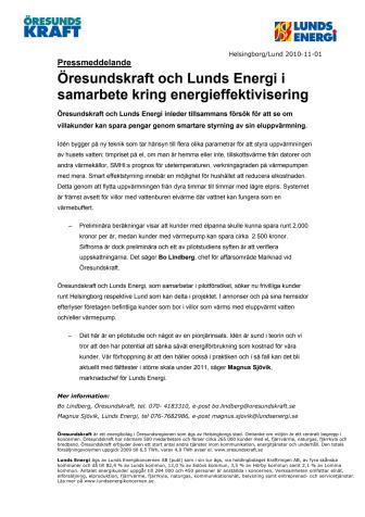 Öresundskraft och Lunds Energi i samarbete kring energieffektivisering