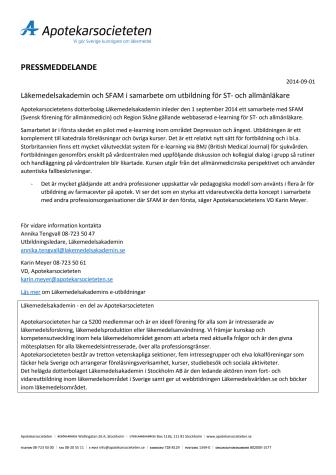 Läkemedelsakademin och SFAM i samarbete om utbildning för ST- och allmänläkare