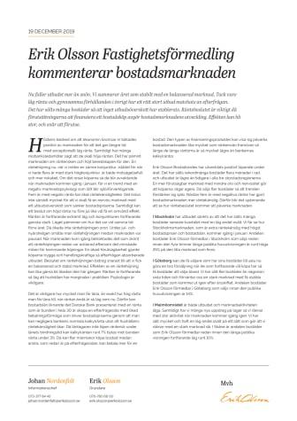 Erik Olsson Fastighetsförmedling kommenterar bostadsmarknaden 19 december 2019