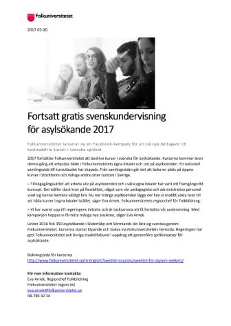 Fortsatt gratis svenskundervisning  för asylsökande 2017