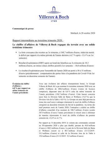 Rapport intermédiaire au troisième trimestre 2020 :  Le chiffre d'affaires de Villeroy & Boch regagne du terrain avec un solide troisième trimestre