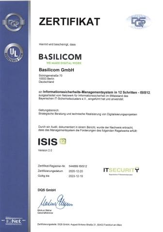 Basilicom ISIS12 Zertifikat
