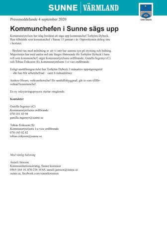 Kommunchefen i Sunne sägs upp
