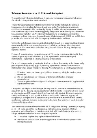 Telenors kommentarer til Tek.no dekningstest