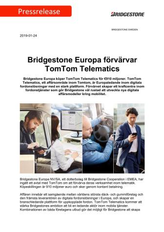Bridgestone Europa förvärvar TomTom Telematics