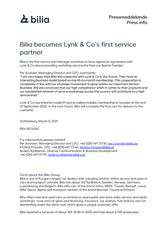 Bilia becomes Lynk & Co's first service partner