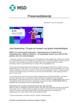 Julie Gerberding i TV-gala om kampen mot global mödradödlighet