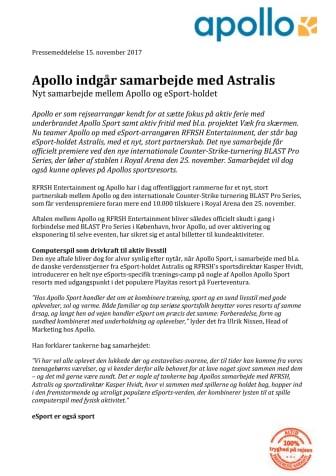 Apollo indgår samarbejde med Astralis