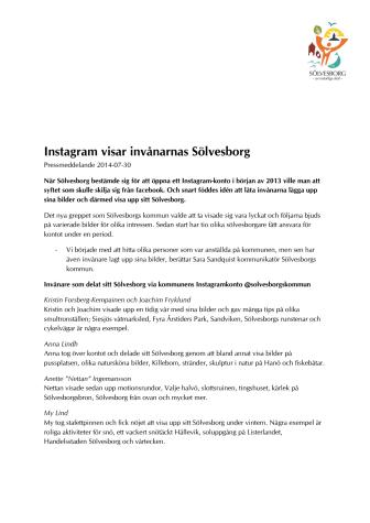 Instagram visar invånarnas Sölvesborg