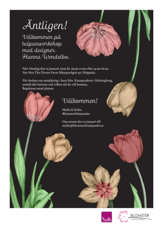 Välkommen på tulpanworkshop med Blomsterfrämjandet & designer Hanna Wendelbo