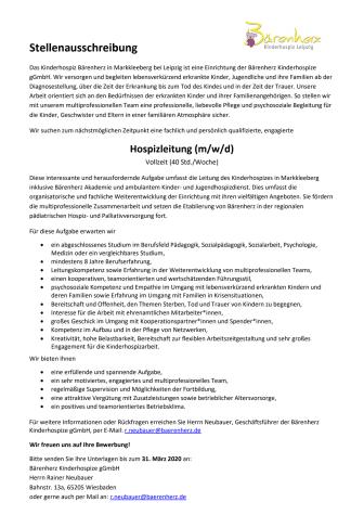 Stellenausschreibung: Hospizleitung (m/w/d) in Vollzeit (40 Std./Woche)