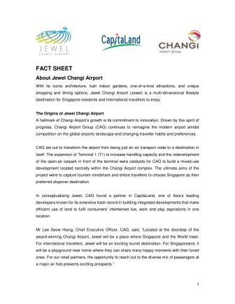 [FACT SHEET] About Jewel Changi Airport