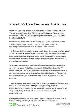 Premiär för Melodifestivalen i Eskilstuna