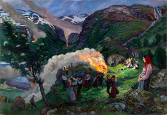 Nikolai Astrup: Priseld / Midsummer Eve Bonfire, olje på lerret, 1915