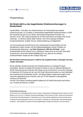 DA Direkt zählt zu den begehrtesten Direktversicherungen in Deutschland