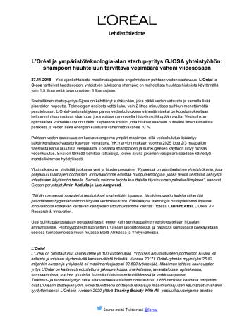 L'Oréal ja Gjosa yhteistyöhön_hiustenpesuun käytettävän veden vähennys