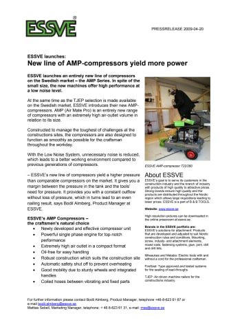 ESSVE launches: New line of AMP-compressors yield more power