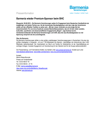 Barmenia wieder Premium-Sponsor beim BHC