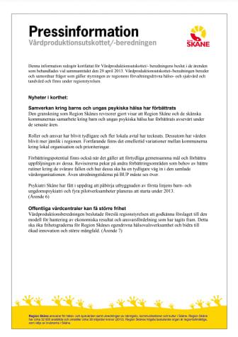 Pressinformation från Vårdproduktionsutskottet/ -beredningen