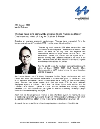 Thomas Yang joins Gong 2013 Creative Circle Awards as Deputy Chairman and Head of Jury for Outdoor & Poster