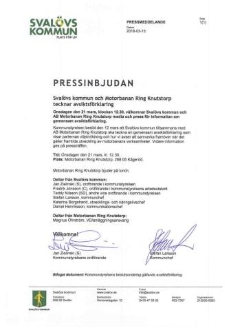 Pressinbjudan: Svalövs kommun och Motorbanan Ring Knutstorp tecknar avsiktsförklaring