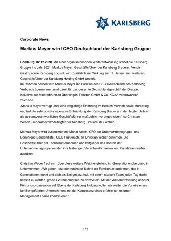 Corporate News: Markus Meyer wird CEO Deutschland der Karlsberg Gruppe