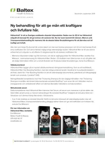 Ny unik 3 komponentsbehandling som ger män ett kraftigare och livfullare hår.