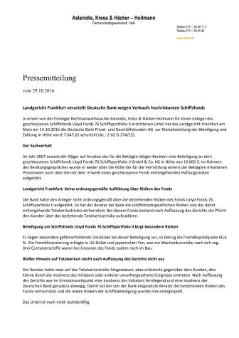 Landgericht Frankfurt verurteilt Deutsche Bank wegen Verkaufs hochriskanten Schiffsfonds