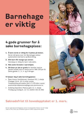 Søk om barnehageplass - norsk