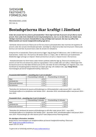 Bostadspriserna ökar kraftigt i Jämtland