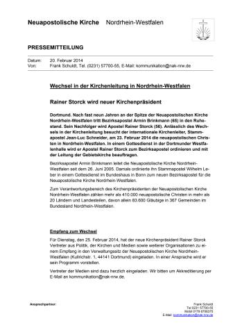 Wechsel der Kirchenleitung: Rainer Storck wird neuer Kirchenpräsident