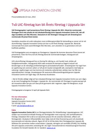 Två UIC-företag kan bli Årets företag i Uppsala län