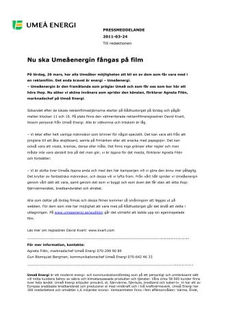 Nu ska Umeåenergin fångas på film