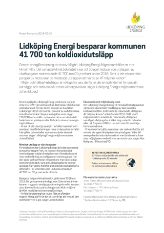Lidköping Energi besparar kommunen 41 700 ton koldioxidutsläpp