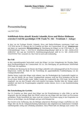 Schiffsfonds Krise aktuell: AKH-H erstreitet obsiegendes Urteil für CFB Fonds 166 Anleger gegen Commerzbank AG