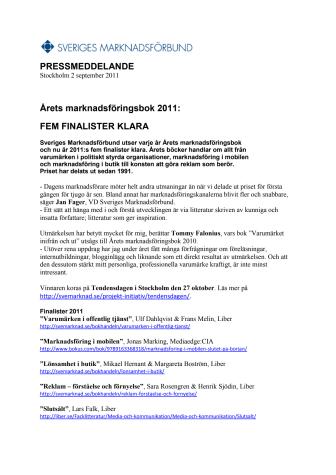 Årets marknadsföringsbok 2011: FEM FINALISTER KLARA