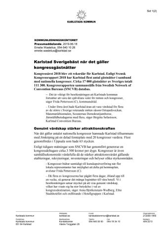 Karlstad Sverigebäst när det gäller kongressgästnätter