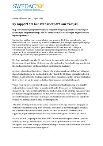 Ny rapport om hur svensk export kan främjas