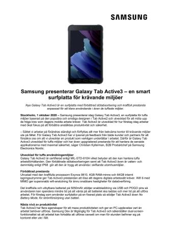 Samsung presenterar Galaxy Tab Active3 – en smart surfplatta för krävande miljöer