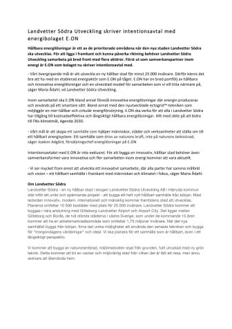 Landvetter Södra Utveckling skriver intentionsavtal med energibolaget E.ON