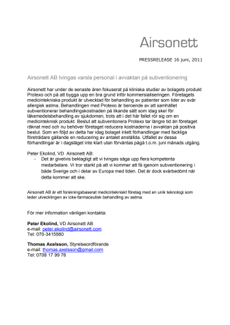Airsonett AB tvingas varsla personal i avvaktan på subventionering