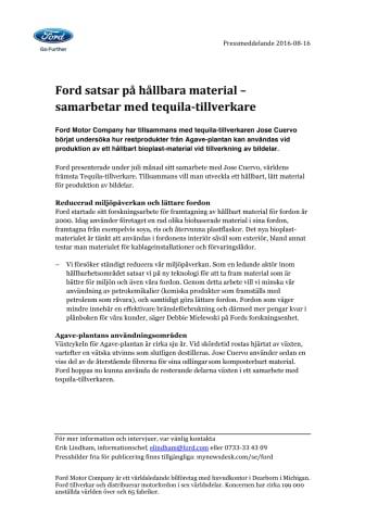 Ford satsar på hållbara material – samarbetar med tequila-tillverkare