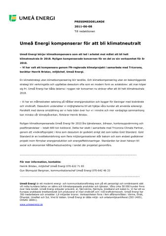 Umeå Energi kompenserar för att bli klimatneutralt