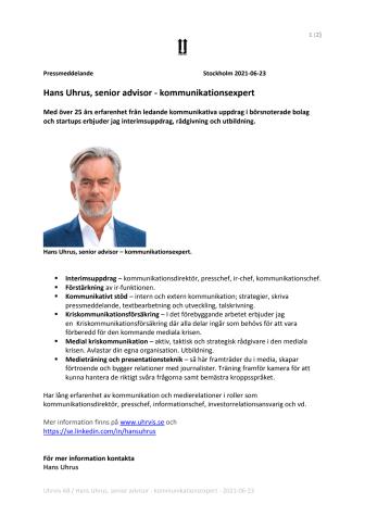 Hans Uhrus, senior advisor - kommunikationsexpert