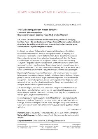 «Aus welcher Quelle ein Wesen schöpft». Eurythmie ist Bestandteil der Neuinszenierung von Goethes ‹Faust 1&2› am Goetheanum
