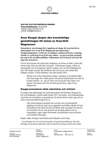 Assa Kauppi skapar den konstnärliga gestaltningen till minne av Sven-Erik Magnusson