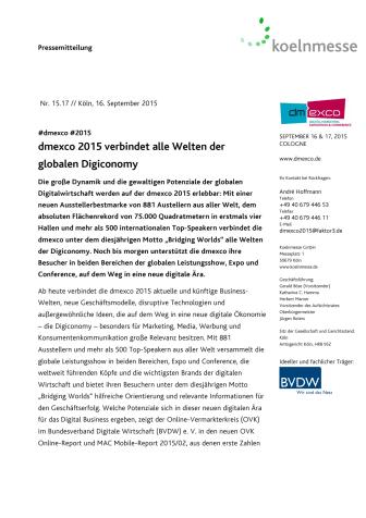 dmexco 2015 verbindet alle Welten der globalen Digiconomy
