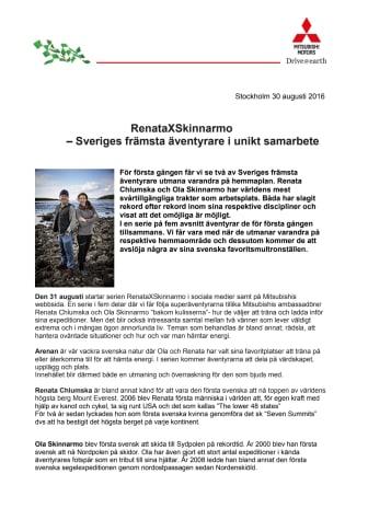 RenataXSkinnarmo - Sveriges främsta äventyrare i unikt samarbete