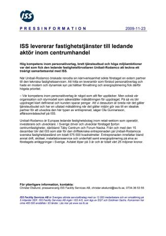 ISS levererar fastighetstjänster till ledande aktör inom centrumhandel